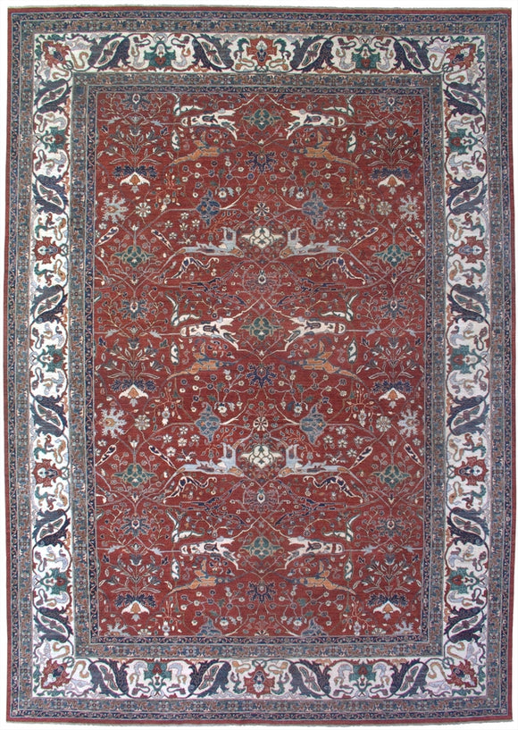 New Pakistan Hand-woven Antique Reproduction of a 19th Century Persian Bijar Garrus Carpet   12'x 17'2