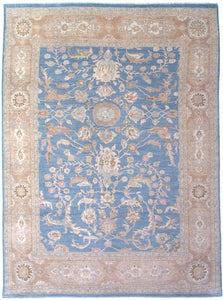 "New Pakistan Hand-woven Antique Reproduction of a 19th Century Persian Sultanabad Carpet   8'6""x 11'8"""