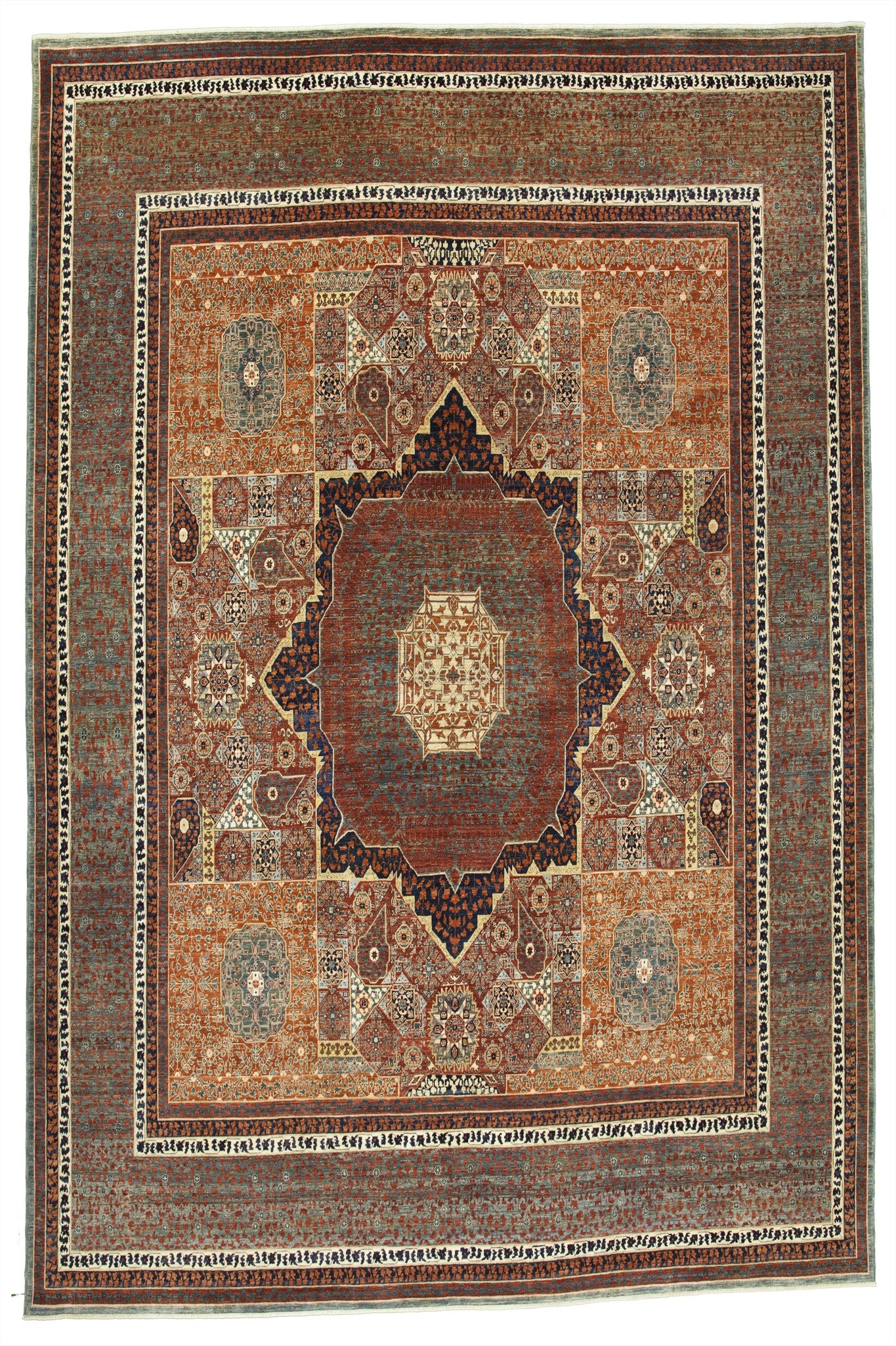 "New Pakistan Hand-woven Antique Reproduction of a Mamluk Carpet  12'8""x 12'10"""