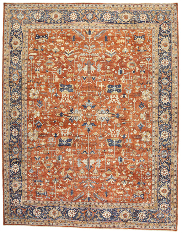 New Pakistan Hand-Knotted Antique Recreation Of 19th Century Persian Serapi  12'x 15'4