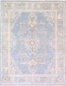 New Pakistan Hand-woven Antique Reproduction of Oushak Carpet With Silk