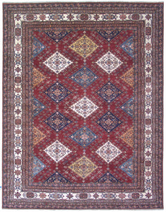 New Pakistan Hand-woven Antique Reproduction of a 19th Century Caucasian Kazak Rug   8'x 10'2""
