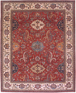 "New Pakistan Hand-woven Antique Reproduction of a 19th Century Persian Sultanabad Carpet  8'1""x 10'1"""