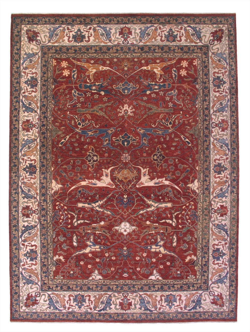 "New Pakistan Hand-woven Antique Reproduction of a 19th Century Persian Garrus Bijar Rug  10'1""x 13'9"""
