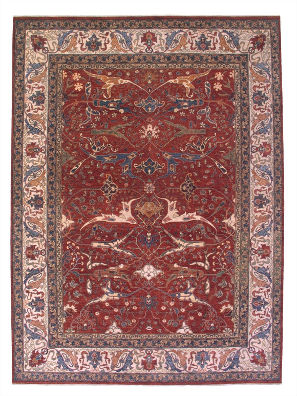 New Pakistan Hand-woven Antique Reproduction of a 19th Century Persian Garrus Bijar Rug  10'1