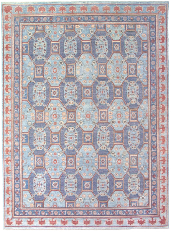 New Pakistan Hand-woven Antique Reproduction of 19th Century Khotan carpet          8'8