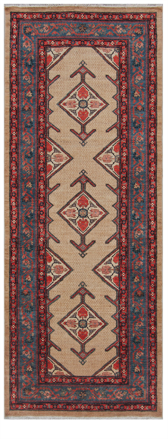 Pakistan Hand-Knotted Antique Recreation of 19th Century Persian Kurdish Serab   3'10