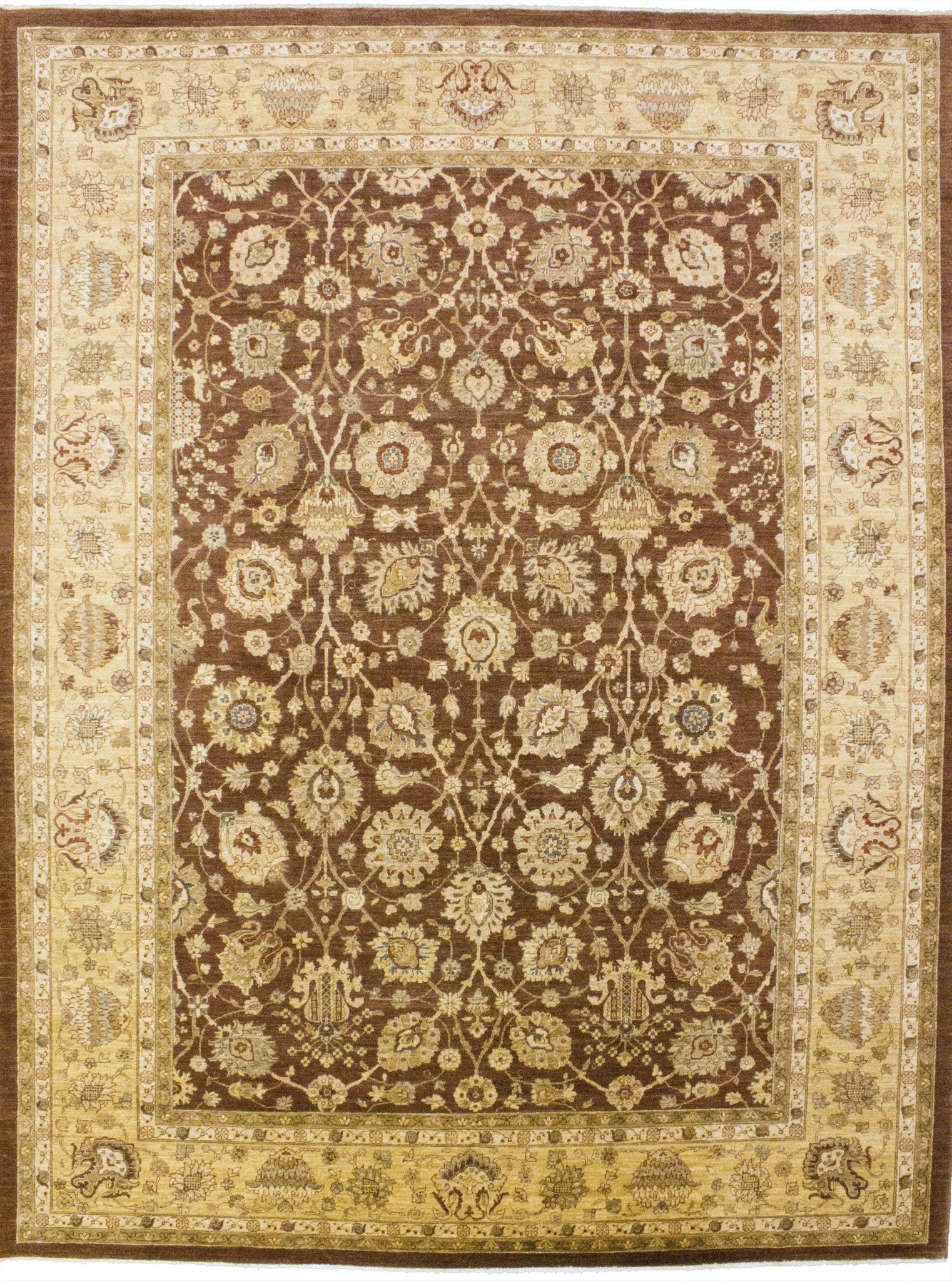 "New Pakistan Hand-woven Antique Reproduction of a 19th Century Persian Tabriz Carpet    10'5""x 13'7"""