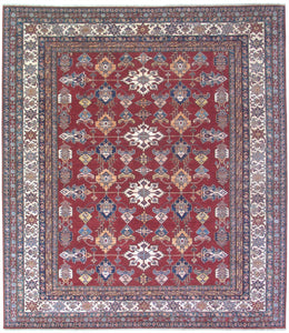 "New Pakistan Hand-woven Antique Reproduction of a 19th Century Caucasian Kazak Rug   8'3""x 9'7"""