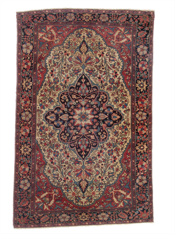 "Antique Persian Ferahan Rug             4'2""x 6'7"""