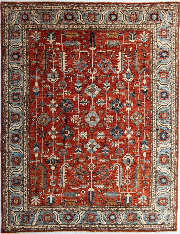 New Hand-knotted Antique Recreation from Afghanistan.  19th Century Persian Heriz Design.  9'2