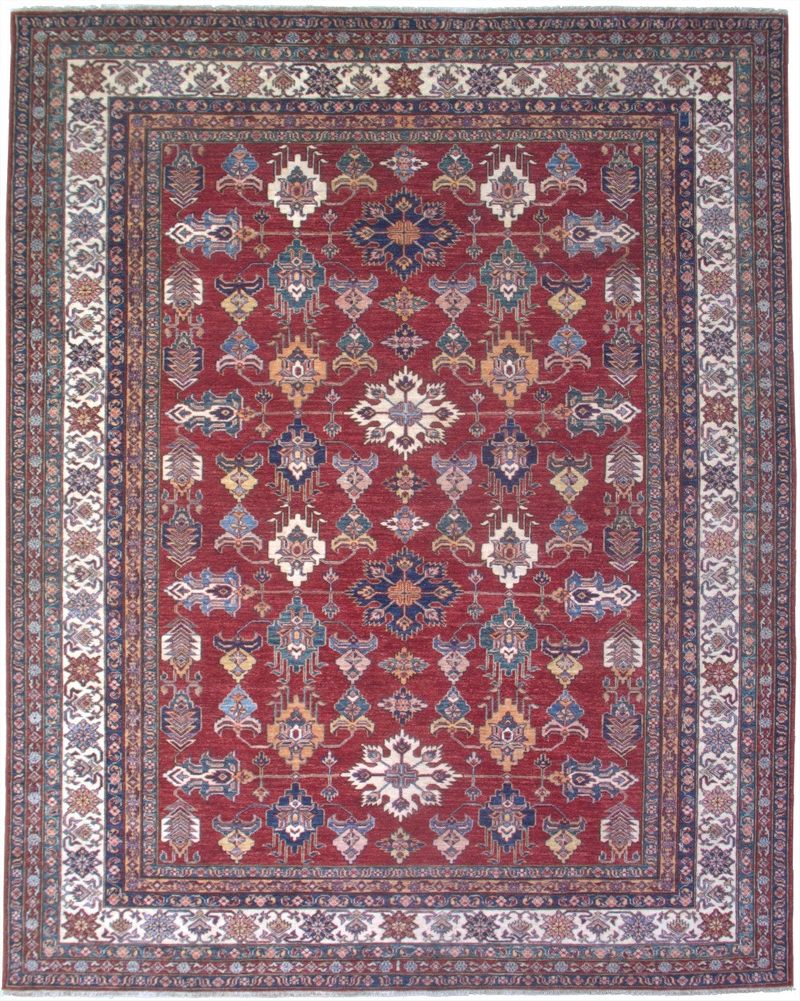 "New Pakistan Hand-woven Antique Reproduction of a 19th Century Caucasian Kazak Rug   8'2""x 10'2"""