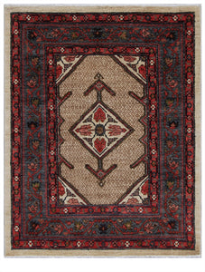 "Pakistan Hand-Knotted Antique Recreation of 19th Century Persian Serab    3'6""x 4'4"""