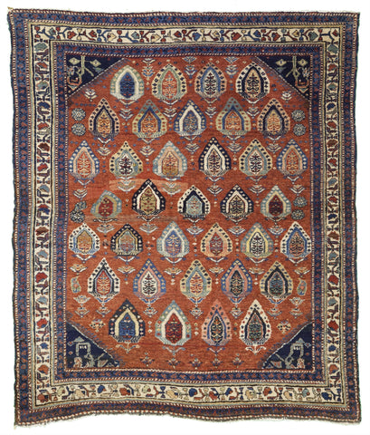"Antique North West Persian Village Rug                              4'6""x 5'3"""