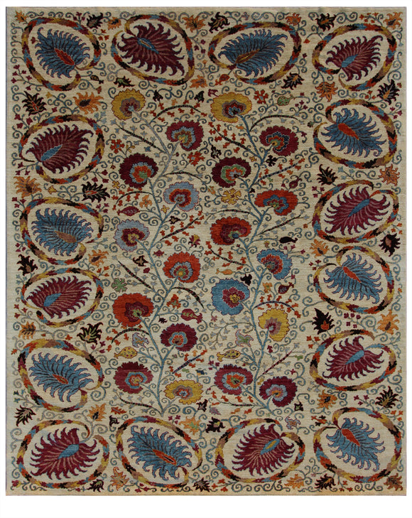 New Afghanistan Hand-Knotted Antique Recreation of 19th Century Uzbekistan Suzani   8'x 9'7
