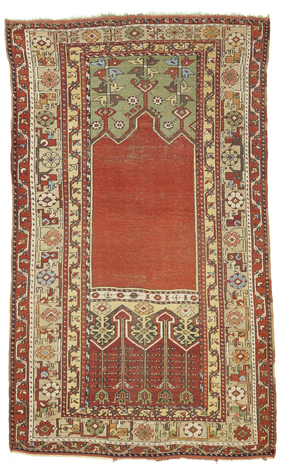 Antique Ladik Prayer Rug From Turkey     4'x 6'6