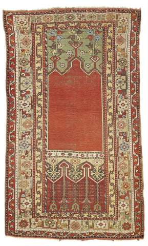 Antique Ladik Prayer Rug From Turkey     4'x 6'6""