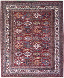 "New Pakistan Hand-woven Antique Reproduction of a 19th Century Caucasian Kazak Rug   8'2""x 10'"