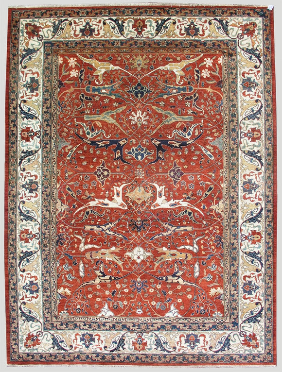 New Pakistan Hand-woven Antique Reproduction of a 19th Century Persian Bijar Garrus Carpet   10'3