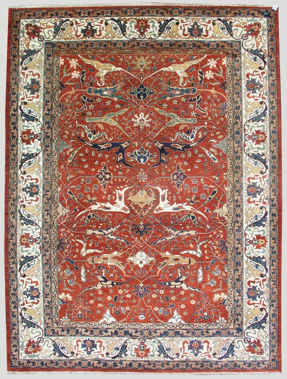 New Pakistan Hand-woven Antique Reproduction of a 19th Century Persian Garrus Bijar Rug  10'3