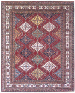 "New Pakistan Hand-woven Antique Reproduction of a 19th Century Caucasian Kazak Rug    8'2""x 10"""