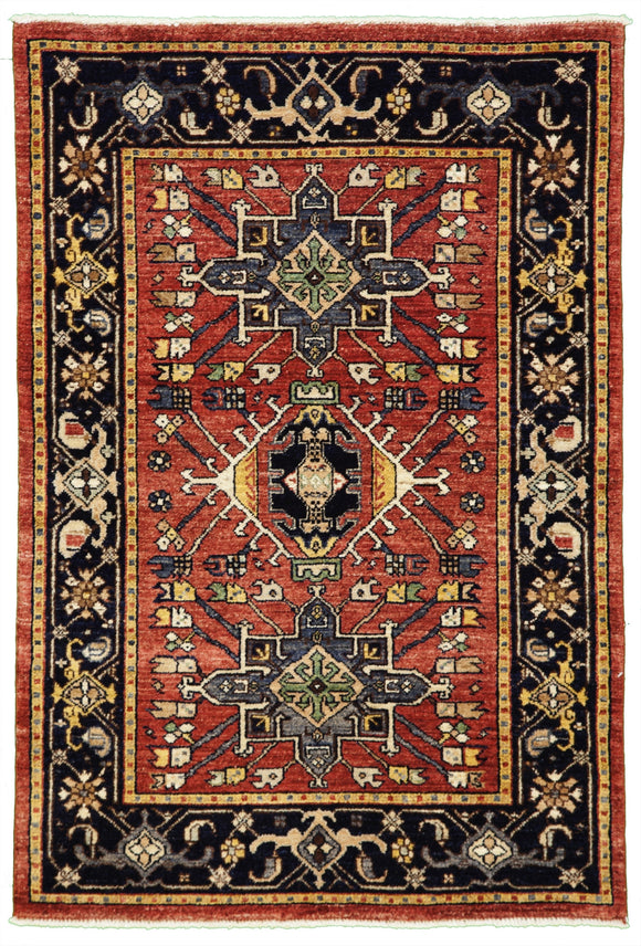 New Pakistan Hand-woven Antique Reproduction of a 19th Century Persian Karajeh Rug   3'1