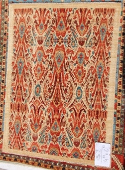 New Hand-Knotted Afghanistan Antique Recreation of Old Uzbekistan Ikat Design    SOLD