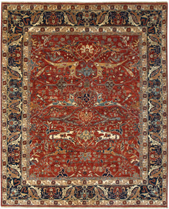 "New Pakistan Hand-woven Antique Reproduction of a 19th Century Persian Garrus Bijar Rug  8'6""x 11'4"""