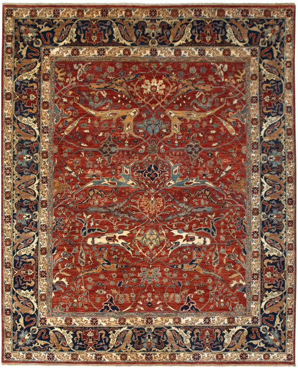 New Pakistan Hand-woven Antique Reproduction of a 19th Century Persian Garrus Bijar Rug  8'6