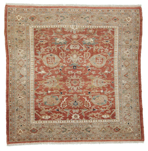"New Pakistan Hand-knotted Antique Recreation of an Antique Persian Sultanabad      7'3""x 7'5"""