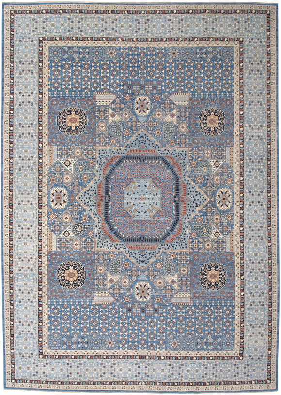 New Hand-Knotted Antique Reproduction of an Egyptian Mamluk Carpet    9'8