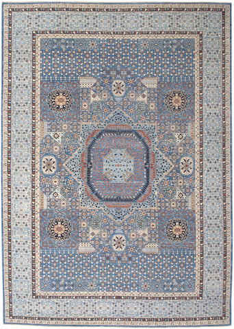 "New Hand-Knotted Antique Reproduction of an Egyptian Mamluk Carpet    9'8""x 13'7"""