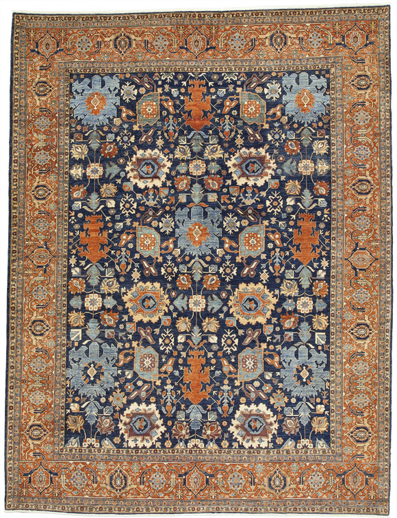 New Afghanistan Hand-knotted Antique Recreation of 19th Century Persian Bijar or Caucasian Harshang Design  9'2