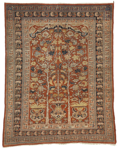 "Antique Persian Hadji-Jalili Tabriz Signed And Dated 1883!       4'5""x 5'7"""