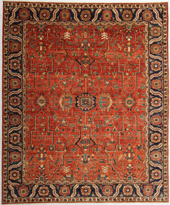 "New Pakistan Hand-Knotted Antique Recreation of a 19th Century Persian Serapi Design  8'3""x 9'10"""