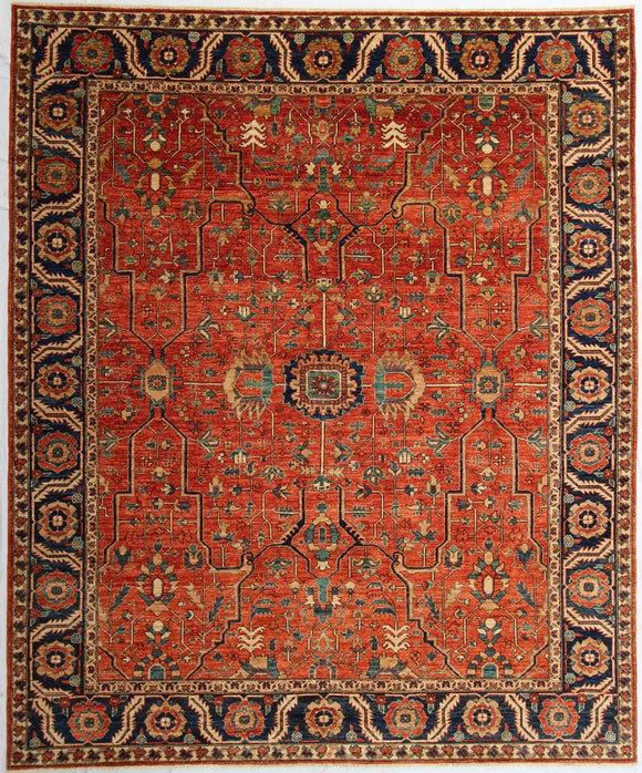 New Pakistan Hand-Knotted Antique Recreation of a 19th Century Persian Serapi Design  8'3