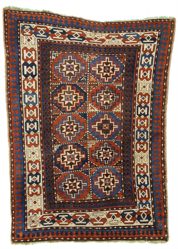 Antique Moghan Caucasian Tribal Rug    4'x5'6