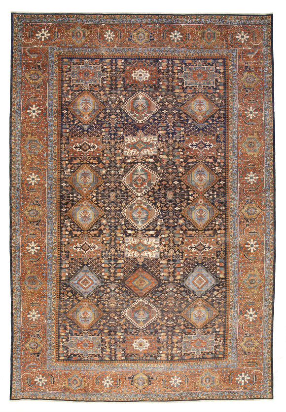 New Pakistan Hand-knotted Antique Recreation of Persian 19th Century Karajeh   11'10