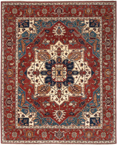 "New Pakistan Hand-woven Antique Reproduction of a 19th Century Persian Serapi Carpet  8'1""x 10'1"""