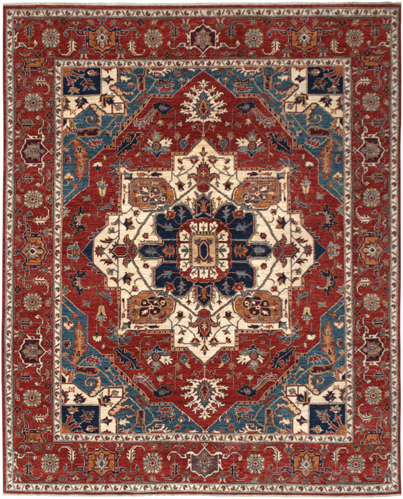 New Pakistan Hand-woven Antique Reproduction of a 19th Century Persian Serapi Carpet  8'1