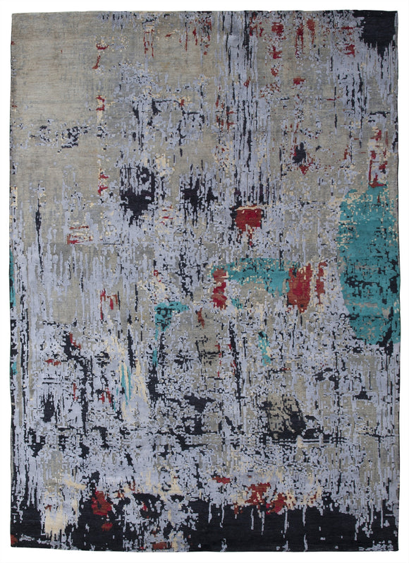 New Pakistan Hand-Knotted Modern Abstract Contemporary Carpet    10'x 14'