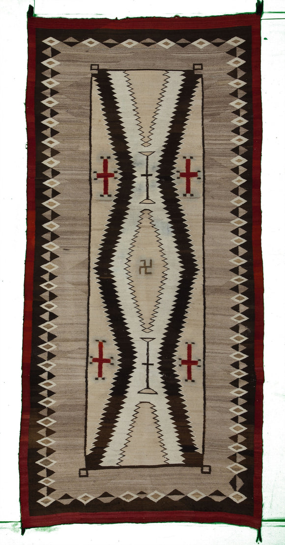 Antique JB Moore Crystal Navajo Rug                  4'8