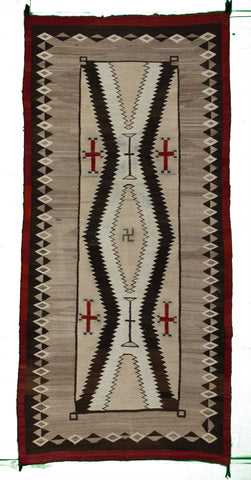 "Antique JB Moore Crystal Navajo Rug                  4'8""x 9'9"""