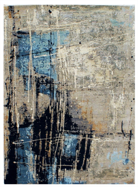 New Modern Abstract Hand-knotted Indian Carpet   9'x12'                SOLD