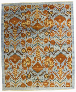 "New Hand-Knotted Afghanistan Ikat Design Carpet        8'2""x 9'10"""