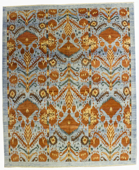 New Hand-Knotted Afghanistan Ikat Design Carpet        8'2