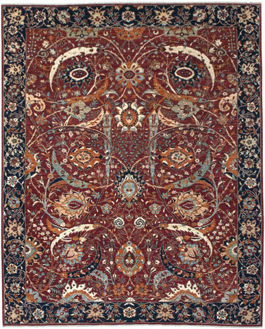 "New Pakistan Hand-knotted Antique Recreation of a 17th Century Persian Carpet       8'8""x 11'1"""