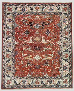 "New Pakistan Hand-woven Antique Reproduction of a 19th Century Persian Bijar Garrus Carpet   8'1""x 9'5"""