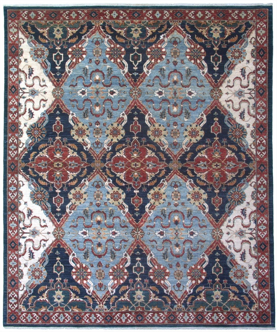 New Pakistan Hand-woven Antique Reproduction of a 19th Century Hybrid Persian Carpet   8'x 9'8""