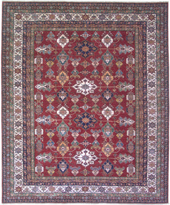 "New Pakistan Hand-woven Antique Reproduction of a 19th Century Caucasian Kazak Rug   8'1""x 10'2"""